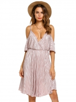 Misty Rose Spaghetti Strap Striped Cold Shoulder Backless Dress