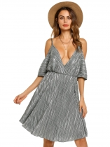 Silver Spaghetti Strap Striped Cold Shoulder Backless Dress