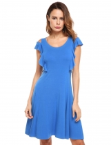 Blue Cold Shoulder Solid Ruffles Tank Dress