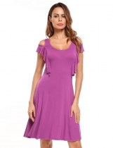 Purple Cold Shoulder Solid Ruffles Tank Dress