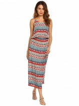 Pattern 1 Spaghetti Strap Tribal Printed Split Hem Maxi Dress