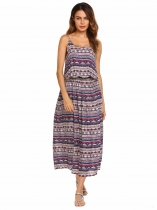 Pattern 2 Spaghetti Strap Tribal Printed Split Hem Maxi Dress