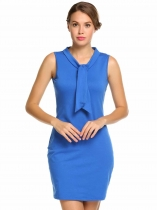 Blue Sleeveless Solid Bow Tie-Neck Slim Fit Pencil Dress