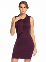 Purple Sleeveless Solid Bow Tie-Neck Slim Fit Pencil Dress