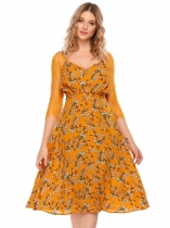 Wheat Casual 3/4 Sleeve Floral Lace Patchwork V Neck Pleated Dress
