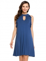 Blue Ruffles Keyhole Sleeveless Solid Stand Collar A-Line Dress