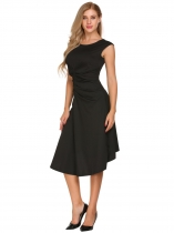 Black Retro Cap Sleeve Solid Ruched Dress