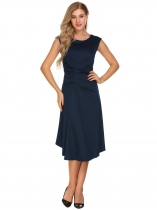 Navy blue Retro Cap Sleeve Solid Ruched Dress