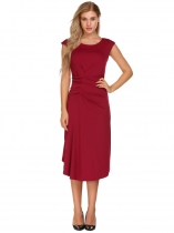 Rojo de vino Mujeres Retro Cap Sleeve Solid O cuello Ruched Cocktail Business Dress