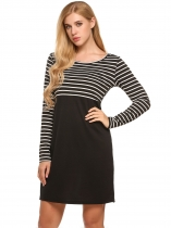 Black Round Neck Striped Patchwork Business Sheath Dress