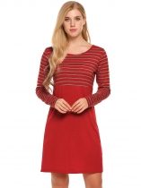 Red Round Neck Striped Patchwork Business Sheath Dress