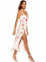 White Sleeveless Floral Chiffon Maxi Dress