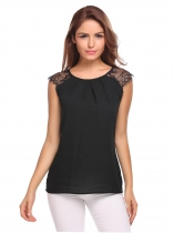 Black Sleeveless Lace Chiffon Patchwork Draped Blouse
