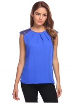 Blue Sleeveless Lace Chiffon Patchwork Draped Blouse