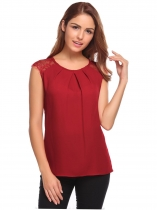 Wine red Sleeveless Lace Chiffon Patchwork Draped Blouse