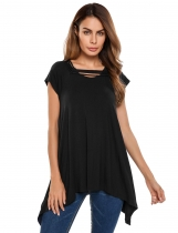 Black Short Sleeve Solid Irregular Loose Tunics