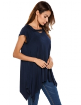 Blue Short Sleeve Solid Irregular Loose Tunics