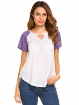 Purple Keyhole O-Neck Short Sleeve Patchwork Irregular Tops