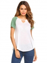 Green Keyhole O-Neck Short Sleeve Patchwork Irregular Tops