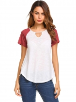 Wine red Keyhole O-Neck Short Sleeve Patchwork Irregular Tops