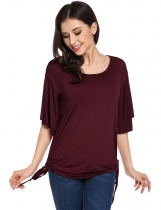 Wine red Flutter Sleeve O Neck Solid Loose Pullover Blouse