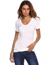 White Solid Spaghetti Strap Short Sleeve Ruched Fit Tops