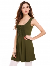 Army green Solid Sleeveless Draped Slim Long Tank Tops