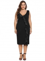 Black Sleeveless Ruffles Bodycon Dress Plus Size