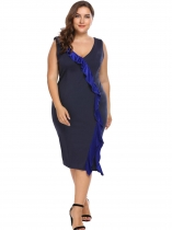 Navy blue Femmes V-Neck Sans manches Ruffles Bodycon Business Party Midi Dress Plus Size