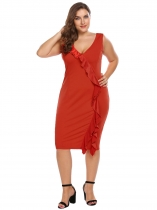 Orange Sleeveless Ruffles Bodycon Dress Plus Size