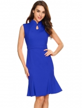 Blue Sleeveless Solid Keyhole Bodycon Mermaid Dress