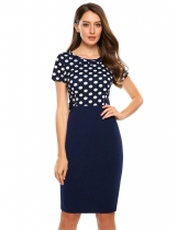 Bleu foncé Women's Vintage Style Polka Dot Patchwork Work Business Pencil Dress