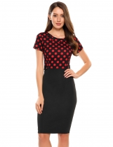 Red Vintage Style Polka Dot Patchwork Pencil Dress