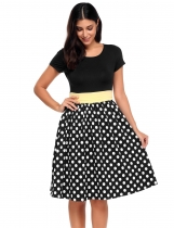 Black Ruched Waist Polka Dots Fit and Flare Dress