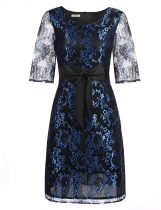 Blue Femmes 3/4 Sleeve Bow Cocktail Party Slim Floral Abeille A-Line Robe