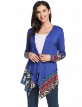 Blue Collarless Long Sleeve Prints Patchwork Asymmetrical Hem Elastic Cardigan