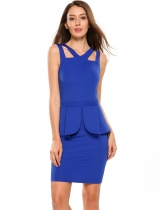 Blue V Neck Sleeveless Solid Peplum Bodycon Dress