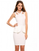 White V Neck Sleeveless Solid Peplum Bodycon Dress