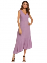 Purple V-Neck Sleeveless Solid Slim Maxi Dress