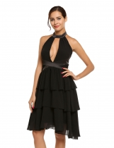 Black Halter Sleeveless Backless Patchwork High Waist Tiered Dress
