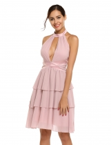 Pink Halter Sleeveless Backless Patchwork High Waist Tiered Dress