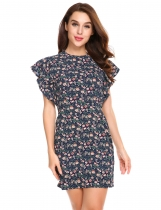 Pattern Women Butterfly Sleeve Floral Dress Package Hip Sexy Mini Party Pencil