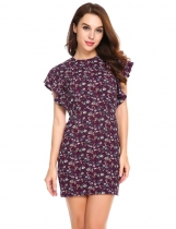 Pattern 1 Butterfly Sleeve Floral Package Hip Mini Pencil Dress