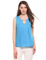 Blue Hollow Out False Two Pieces Back Button Closure Chiffon Tank Tops
