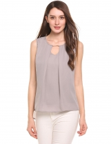 Grey New Women Casual V-Neck Sem mangas Solid Back Button Encerramento Hollow Out Falso Duas peças Chiffon Tank Tops