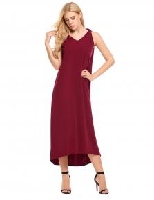 5b4b912b8e59 Wine red Sleeveless Solid V Neck Loose Maxi Dress