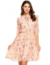 Pink 3/4 Sleeve Floral Print Bow Tie-Neck A-Line Dress