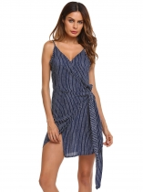 Blue Sleeveless Striped V Neck Belted Split Dress