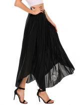 Black High Waist Solid Retro Style Elegant Pleated Skirt