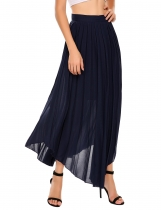 Blue High Waist Solid Retro Style Elegant Pleated Skirt